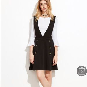 Dresses & Skirts - White Bell Sleeve Ribbed Top With Pinafore Dress